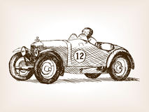 Retro sport race car hand drawn sketch vector Stock Photography