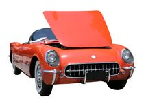 Retro sports car. Sports car with the hood raised stock image