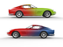 Retro sports cars - color mix - side view Royalty Free Stock Images