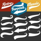Retro sports swoosh tails set. Swoosh tails. Retro sports swash decorative elements for baseball or strike banners and tshirts vector set royalty free illustration