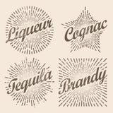 Retro sprazzo di sole di progettazione, starburst radiante per brandy ed alcool royalty illustrazione gratis