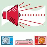 Retro spreker en audiovoorwerpen Stock Foto