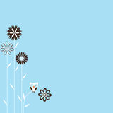 Retro Spring Background. A retro styled background with flowers and an owl Stock Images