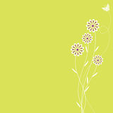 Retro Spring Background. A retro styled background with flowers and a butterfly Royalty Free Stock Images