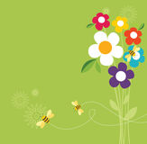Retro Spring Design. Collect flowers for the honey bee Stock Images