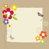 Retro Spring Design. In the spring of birds, trees and flowers of landscape Stock Photo