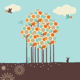 Retro Spring Design. In the spring of birds, trees and flowers of landscape Royalty Free Stock Photo