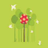 Retro Spring Design. In the spring of birds, trees and flowers of landscape Stock Image