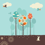 Retro Spring Design. In the spring of birds, trees and flowers of landscape Royalty Free Stock Photography