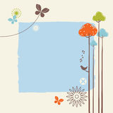 Retro Spring Design. In the spring of birds, trees and flowers of landscape Stock Photos