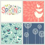 Cheerful coordinating retro Spring designs. Retro Spring designs includes and seamless bird pattern, hand drawn flowers and doodle lettering. Cheerful stock illustration