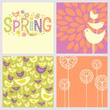 Cheerful coordinating retro Spring designs. Retro Spring designs includes and seamless bird pattern, hand drawn flowers and doodle lettering. Cheerful vector illustration