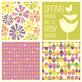 Retro Spring designs and seamless patterns. Including daisies, birds, Easter eggs, raindrops. Cheerful coordinating elements for banners, cards, backgrounds and royalty free illustration