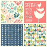 Retro Spring designs and seamless patterns. Including daisies, birds, Easter eggs, raindrops. Cheerful coordinating elements for banners, cards, backgrounds and Stock Photos