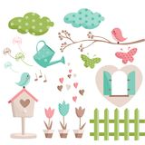 Retro spring elements vector illustration
