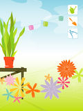 Retro Spring Garden (vector). Modern, colorful stylized outdoor garden with paper lanterns, potting bench and flowers. Includes gardening icons. Items are royalty free illustration