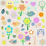 Retro spring nature and animal elements.  Stock Photos
