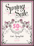 Retro spring sale poster design Stock Images
