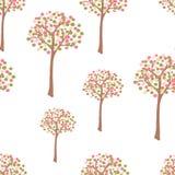 Retro spring trees. Seamless pattern Stock Photography