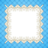 Retro square lace frame. Vintage design border, light blue gingham background, space for picture, text. For greeting card, invitation, scrapbooks, albums Stock Images
