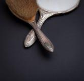 Retro srebra lustro, grępla i Obraz Royalty Free
