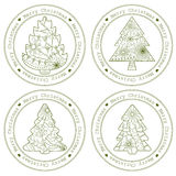 Retro stämplar med julträd vektor illustrationer