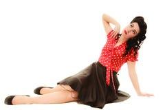 retro Stående av kvinnaflickan med utvikningsbrudfrisyren royaltyfri fotografi