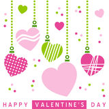 Retro St. Valentine s Hearts [1]. A retro St. Valentines or Saint Valentine s Day card with hanging hearts on white background. Eps file available Stock Photography