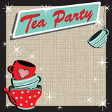 Retro stacked tea party invitation Stock Image
