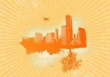 Retro stad met aard vector illustratie