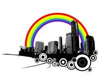 Retro stad met regenboog. stock illustratie