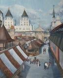 Retro stadslandskap med slottar och domkyrkor royaltyfri fotografi