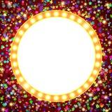 Retro stage shining banner on stars background. Vector illustration Stock Photo