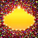 Retro stage shining banner on stars background. Vector illustration Royalty Free Stock Photos