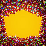 Retro stage shining banner on stars background. Vector illustration Royalty Free Stock Images