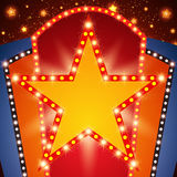 Retro stage shining star banner background Royalty Free Stock Images