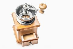 Retro Stainless Manual Coffee Bean Grinder Wooden Nut Mill Hand. Grinding Tool on white background Royalty Free Stock Photography