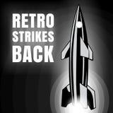 Retro stakingen achter Raketlancering en tekst De vectorstijl van de beeld retro zwart-witte film royalty-vrije illustratie