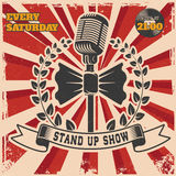 Retro stand up comedy show vintage poster template. Design element for poster, flyer, emblem, sign. Vector illustration Royalty Free Stock Photography