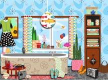 Retro stanza da bagno funky stipata di Fotografia Stock Libera da Diritti