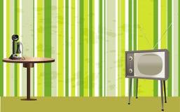 Retro stanza di stile con la TV, il telefono e la tabella Fotografia Stock