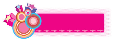 Retro star banner. Illustration of the retro banner or web header with stars and circles vector illustration
