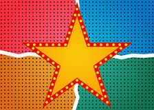 Retro star banner on colorful halftone background Stock Photo