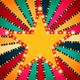 Retro star banner on colorful shining background Stock Photography