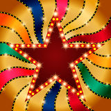Retro star banner on colorful shining background. Vector illustration Royalty Free Stock Images