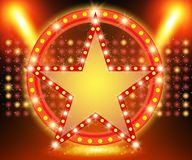 Retro star banner on stage with spotlight effect background Stock Illustration