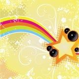 Retro star frame. On yellow background Vector Illustration