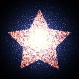 Retro star glowing light banner. Award shiny cinema logo. Stock Photo