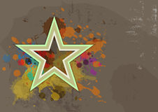 Retro star with ink splash on grunge background Royalty Free Stock Image