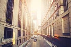 Retro stara filmu stylu fotografia ulica w Chicago Fotografia Royalty Free